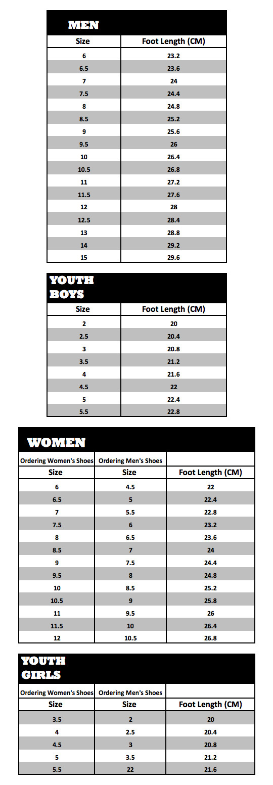 Boombah footwear sizing chart nvjuhfo Image collections